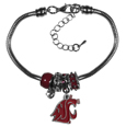 Washington St. Cougars Euro Bead Bracelet