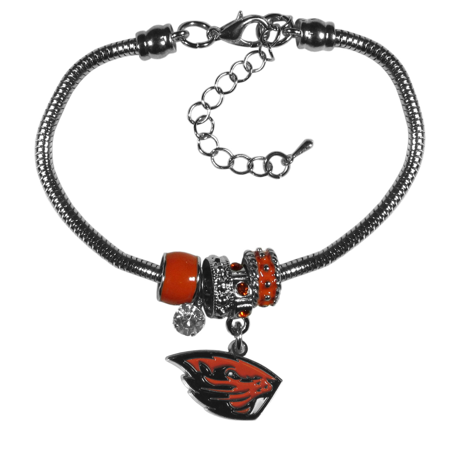 Oregon St. Beavers Euro Bead Bracelet - We have combined the wildly popular Euro style beads with your favorite team to create our  Oregon St. Beavers bead bracelet. The 7.5 inch snake chain with 2 inch extender features 4 Euro beads with enameled team colors and rhinestone accents with a high polish, nickel free charm and rhinestone charm. Perfect way to show off your team pride.