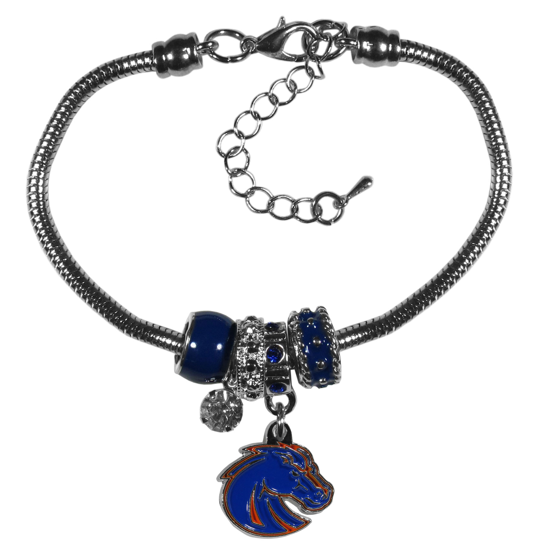 Boise St. Broncos Euro Bead Bracelet - We have combined the wildly popular Euro style beads with your favorite team to create our  Boise St. Broncos bead bracelet. The 7.5 inch snake chain with 2 inch extender features 4 Euro beads with enameled team colors and rhinestone accents with a high polish, nickel free charm and rhinestone charm. Perfect way to show off your team pride.