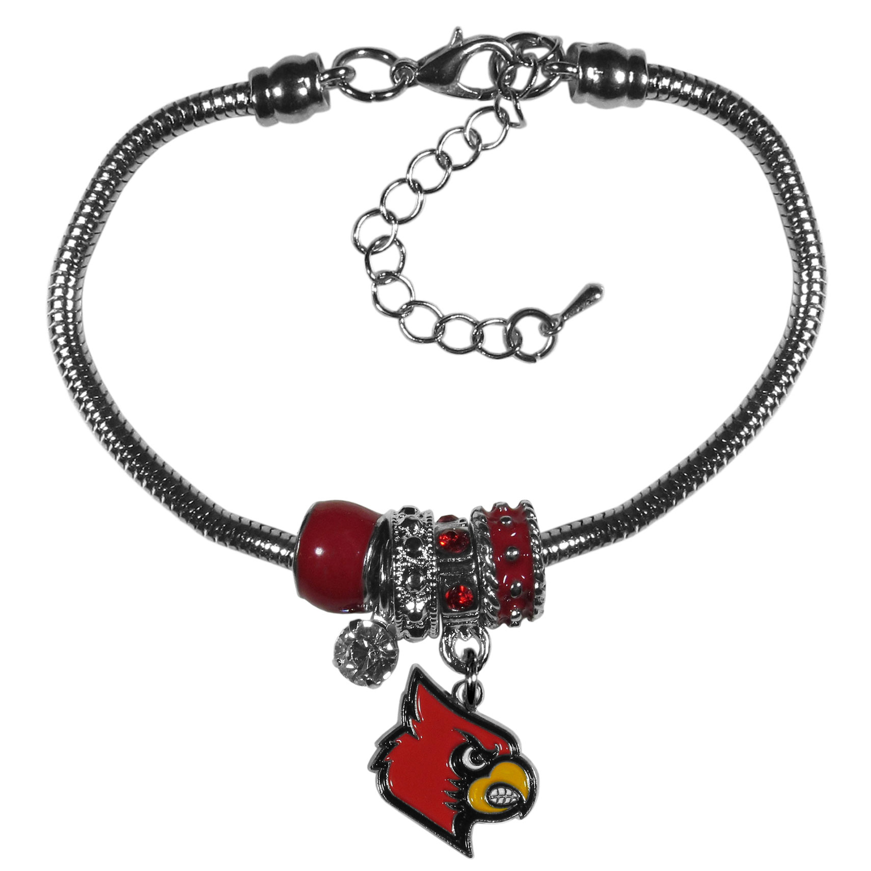 Louisville Cardinals Euro Bead Bracelet - We have combined the wildly popular Euro style beads with your favorite team to create our  Louisville Cardinals bead bracelet. The 7.5 inch snake chain with 2 inch extender features 4 Euro beads with enameled team colors and rhinestone accents with a high polish, nickel free charm and rhinestone charm. Perfect way to show off your team pride.