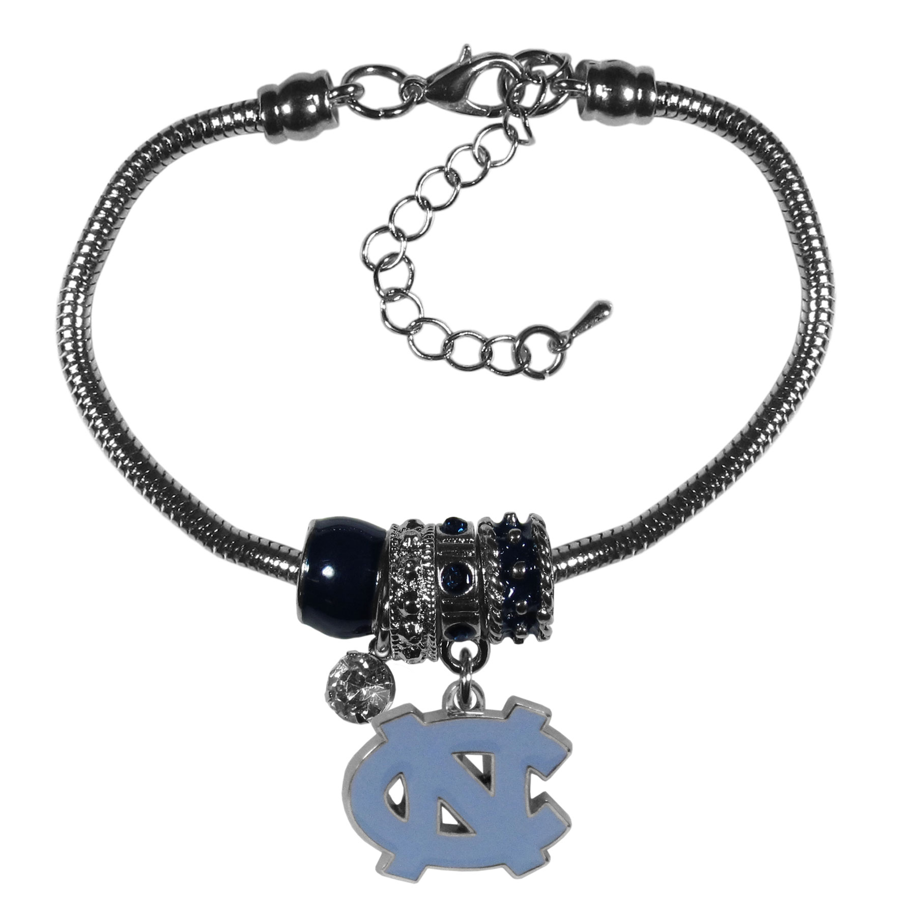 N. Carolina Tar Heels Euro Bead Bracelet - We have combined the wildly popular Euro style beads with your favorite team to create our  N. Carolina Tar Heels bead bracelet. The 7.5 inch snake chain with 2 inch extender features 4 Euro beads with enameled team colors and rhinestone accents with a high polish, nickel free charm and rhinestone charm. Perfect way to show off your team pride.