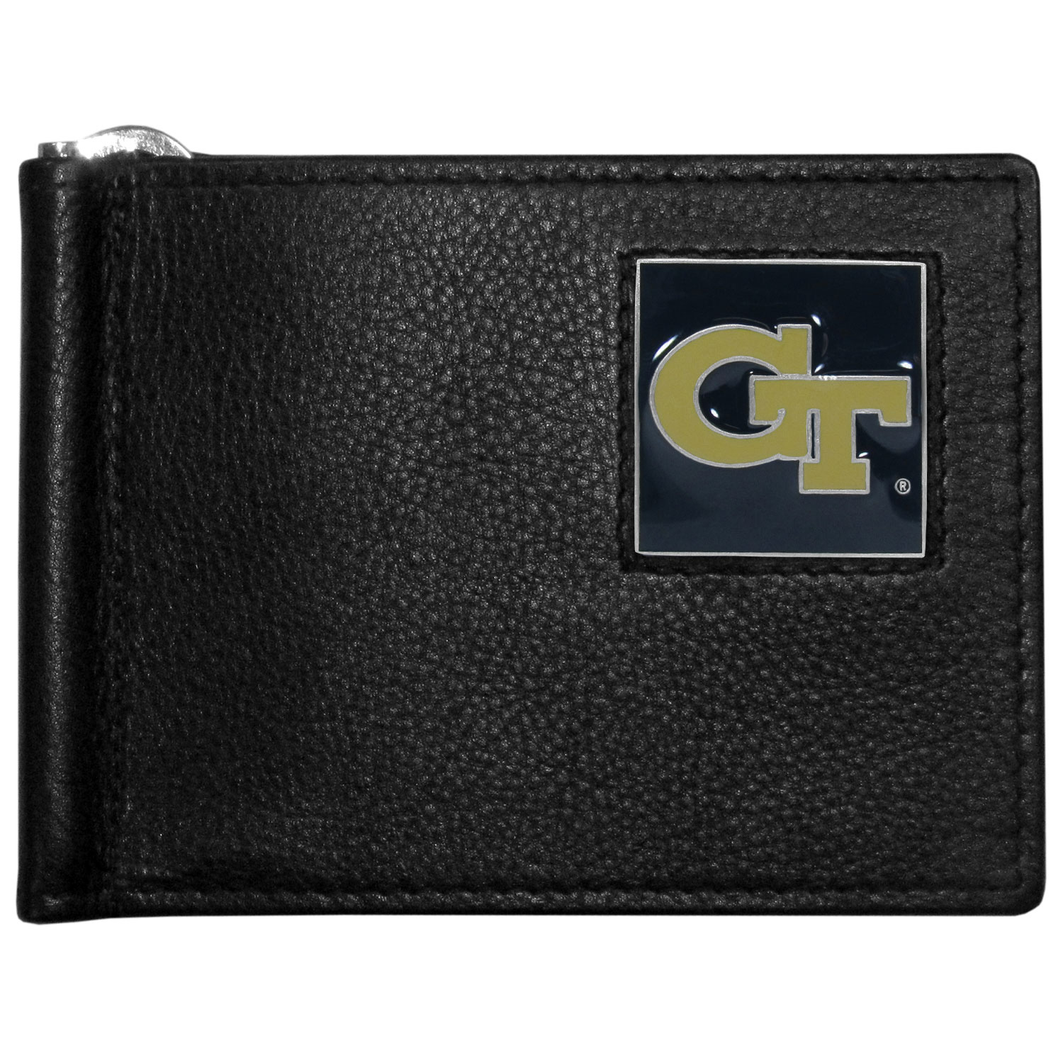 Georgia Tech Yellow Jackets Leather Bill Clip Wallet - This cool new style wallet features an inner, metal bill clip that lips up for easy access. The super slim wallet holds tons of stuff with ample pockets, credit card slots & windowed ID slot.  The wallet is made of genuine fine grain leather and it finished with a metal Georgia Tech Yellow Jackets emblem. The wallet is shipped in gift box packaging.