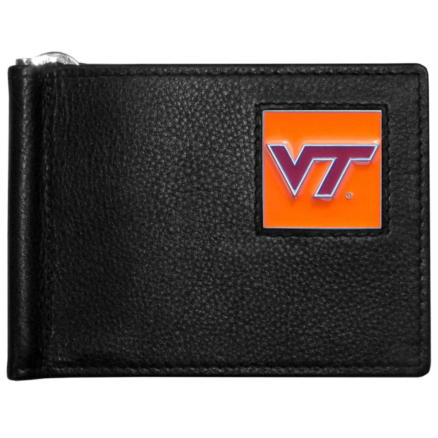 Virginia Tech Hokies Leather Bill Clip Wallet - This cool new style wallet features an inner, metal bill clip that lips up for easy access. The super slim wallet holds tons of stuff with ample pockets, credit card slots & windowed ID slot.  The wallet is made of genuine fine grain leather and it finished with a metal Virginia Tech Hokies emblem. The wallet is shipped in gift box packaging.