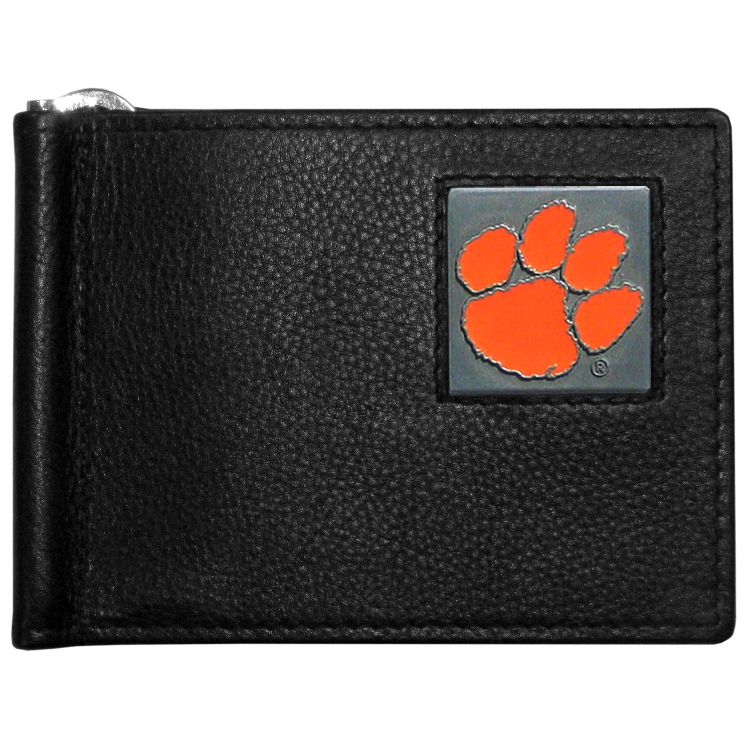 Clemson Tigers Leather Bill Clip Wallet - This cool new style wallet features an inner, metal bill clip that lips up for easy access. The super slim wallet holds tons of stuff with ample pockets, credit card slots & windowed ID slot.  The wallet is made of genuine fine grain leather and it finished with a metal Clemson Tigers emblem. The wallet is shipped in gift box packaging.