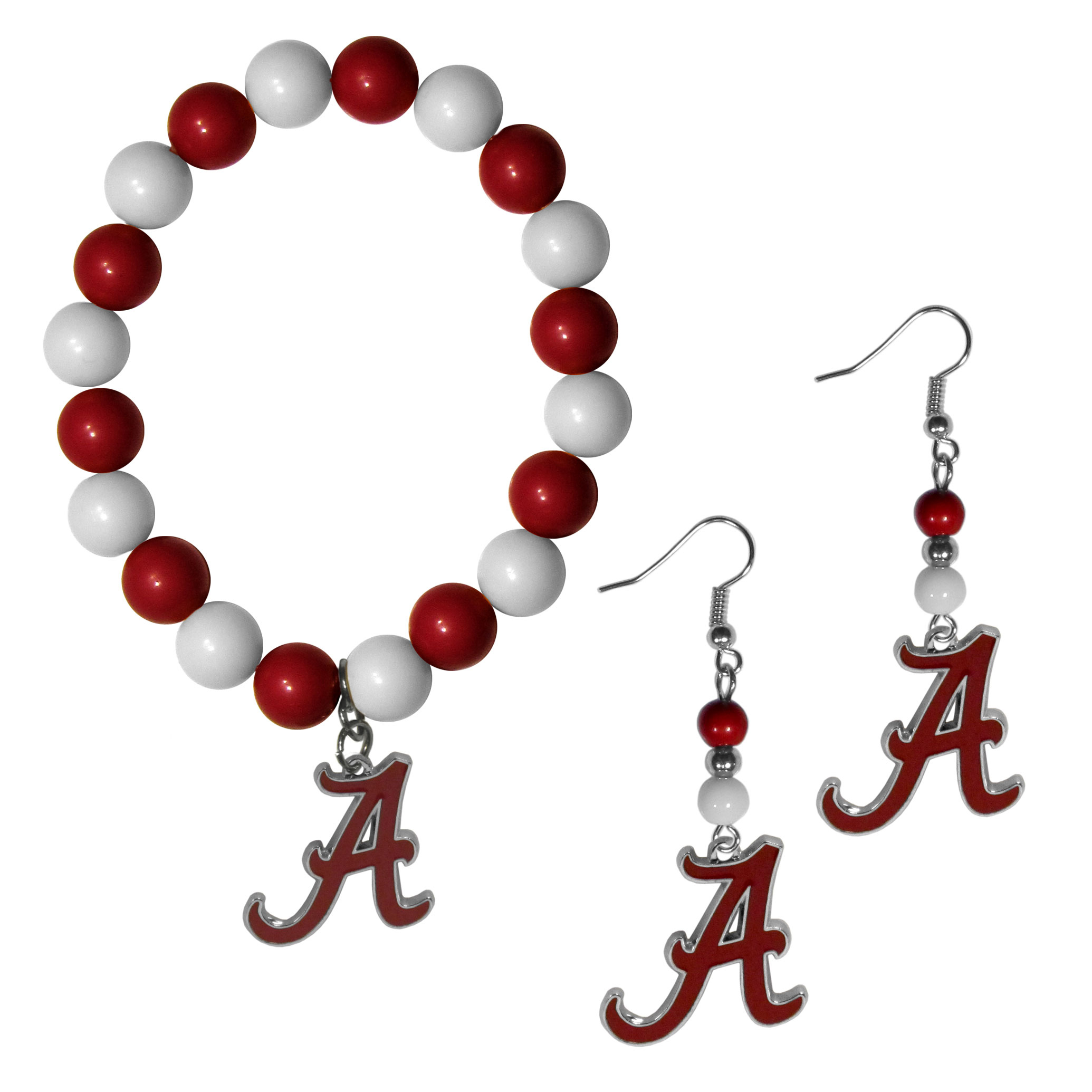 Alabama Crimson Tide Fan Bead Earrings and Bracelet Set - This fun and colorful Alabama Crimson Tide fan bead jewelry set is fun and casual with eye-catching beads in bright team colors. The fashionable dangle earrings feature a team colored beads that drop down to a carved and enameled charm. The stretch bracelet has larger matching beads that make a striking statement and have a matching team charm. These sassy yet sporty jewelry pieces make a perfect gift for any female fan. Spice up your game-day outfit with these fun colorful earrings and bracelet that are also cute enough for any day.