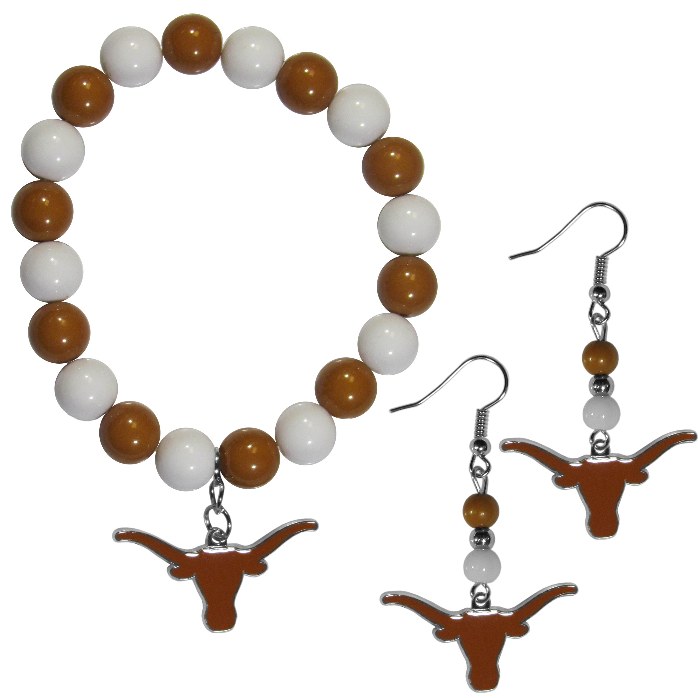 Texas Longhorns Fan Bead Earrings and Bracelet Set - This fun and colorful Texas Longhorns fan bead jewelry set is fun and casual with eye-catching beads in bright team colors. The fashionable dangle earrings feature a team colored beads that drop down to a carved and enameled charm. The stretch bracelet has larger matching beads that make a striking statement and have a matching team charm. These sassy yet sporty jewelry pieces make a perfect gift for any female fan. Spice up your game-day outfit with these fun colorful earrings and bracelet that are also cute enough for any day.