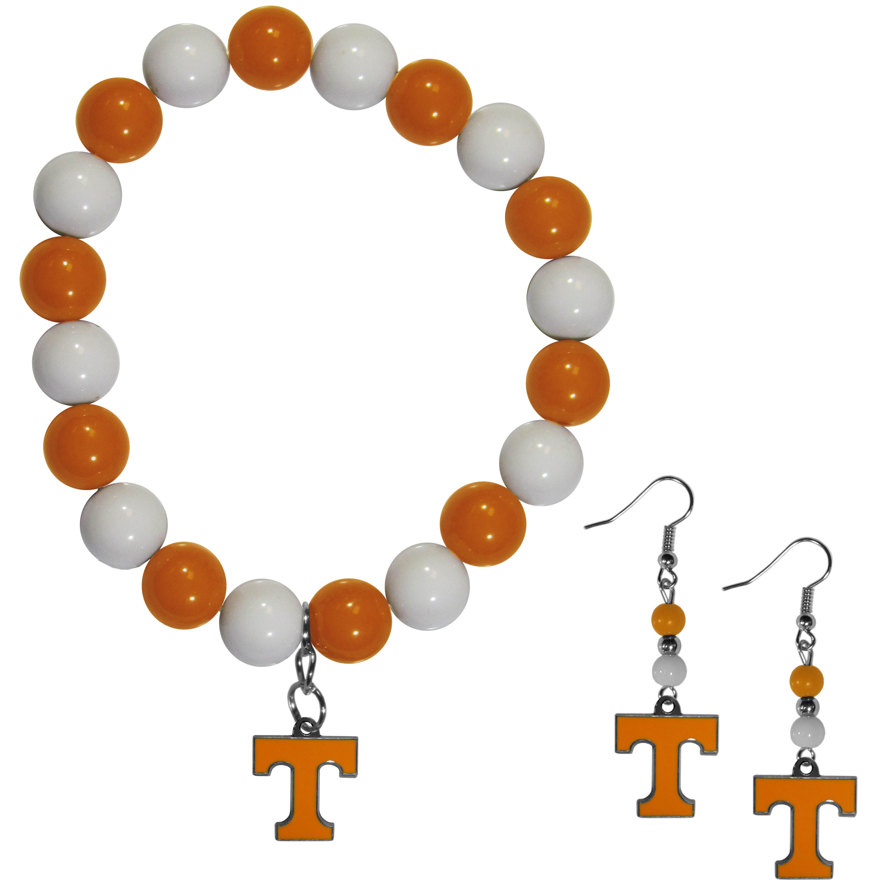 Tennessee Volunteers Fan Bead Earrings and Bracelet Set - This fun and colorful Tennessee Volunteers fan bead jewelry set is fun and casual with eye-catching beads in bright team colors. The fashionable dangle earrings feature a team colored beads that drop down to a carved and enameled charm. The stretch bracelet has larger matching beads that make a striking statement and have a matching team charm. These sassy yet sporty jewelry pieces make a perfect gift for any female fan. Spice up your game-day outfit with these fun colorful earrings and bracelet that are also cute enough for any day.