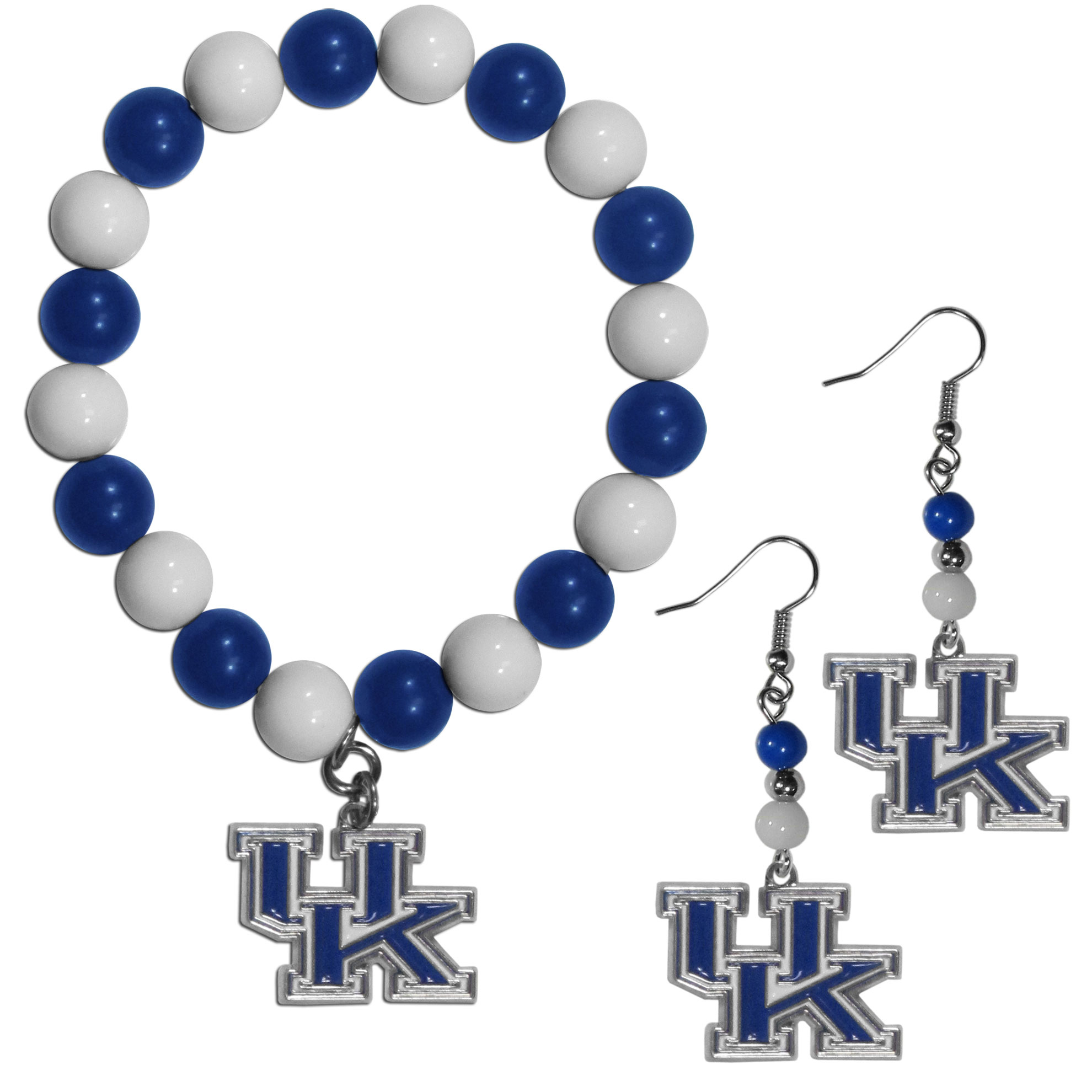 Kentucky Wildcats Fan Bead Earrings and Bracelet Set - This fun and colorful Kentucky Wildcats fan bead jewelry set is fun and casual with eye-catching beads in bright team colors. The fashionable dangle earrings feature a team colored beads that drop down to a carved and enameled charm. The stretch bracelet has larger matching beads that make a striking statement and have a matching team charm. These sassy yet sporty jewelry pieces make a perfect gift for any female fan. Spice up your game-day outfit with these fun colorful earrings and bracelet that are also cute enough for any day.