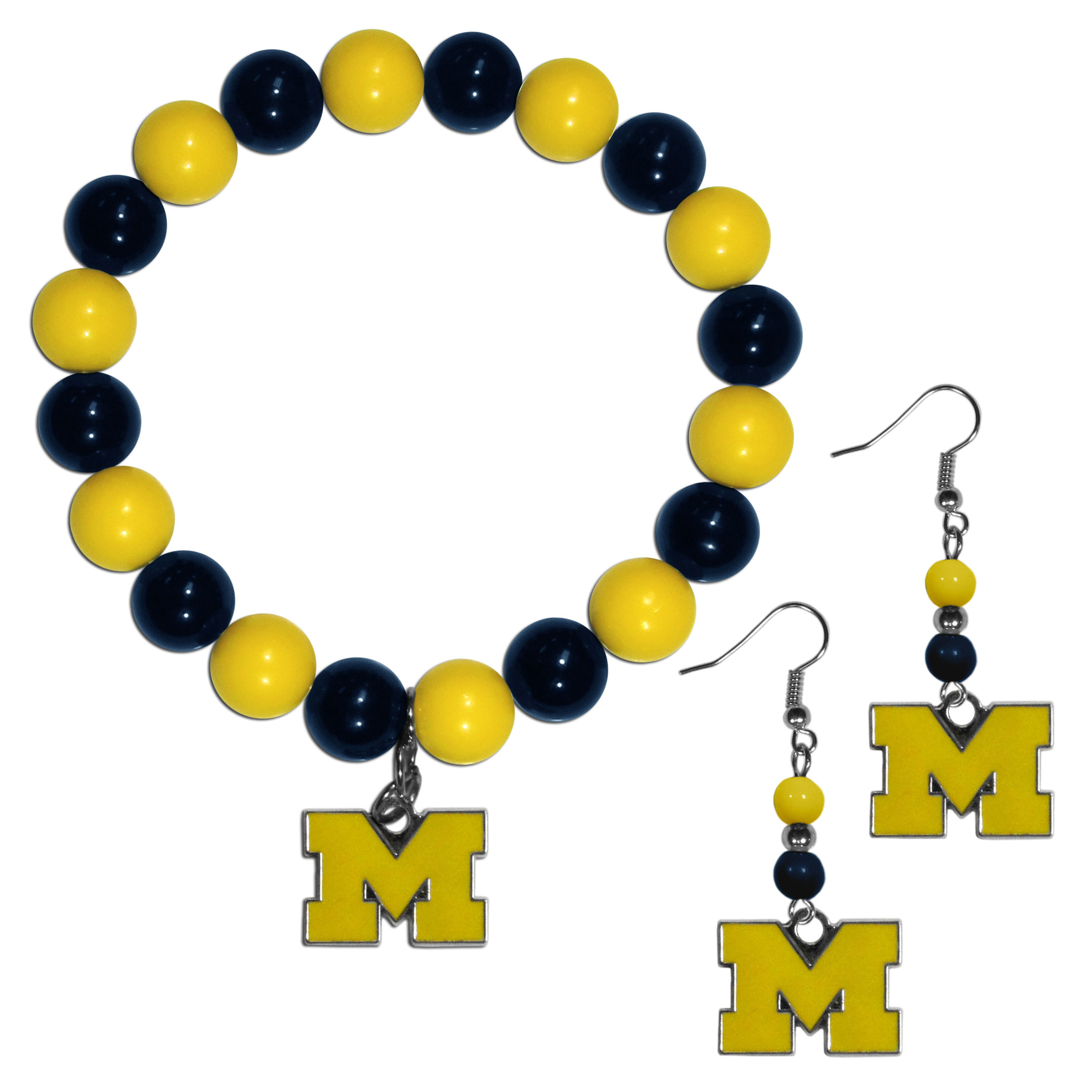 Michigan Wolverines Fan Bead Earrings and Bracelet Set - This fun and colorful Michigan Wolverines fan bead jewelry set is fun and casual with eye-catching beads in bright team colors. The fashionable dangle earrings feature a team colored beads that drop down to a carved and enameled charm. The stretch bracelet has larger matching beads that make a striking statement and have a matching team charm. These sassy yet sporty jewelry pieces make a perfect gift for any female fan. Spice up your game-day outfit with these fun colorful earrings and bracelet that are also cute enough for any day.