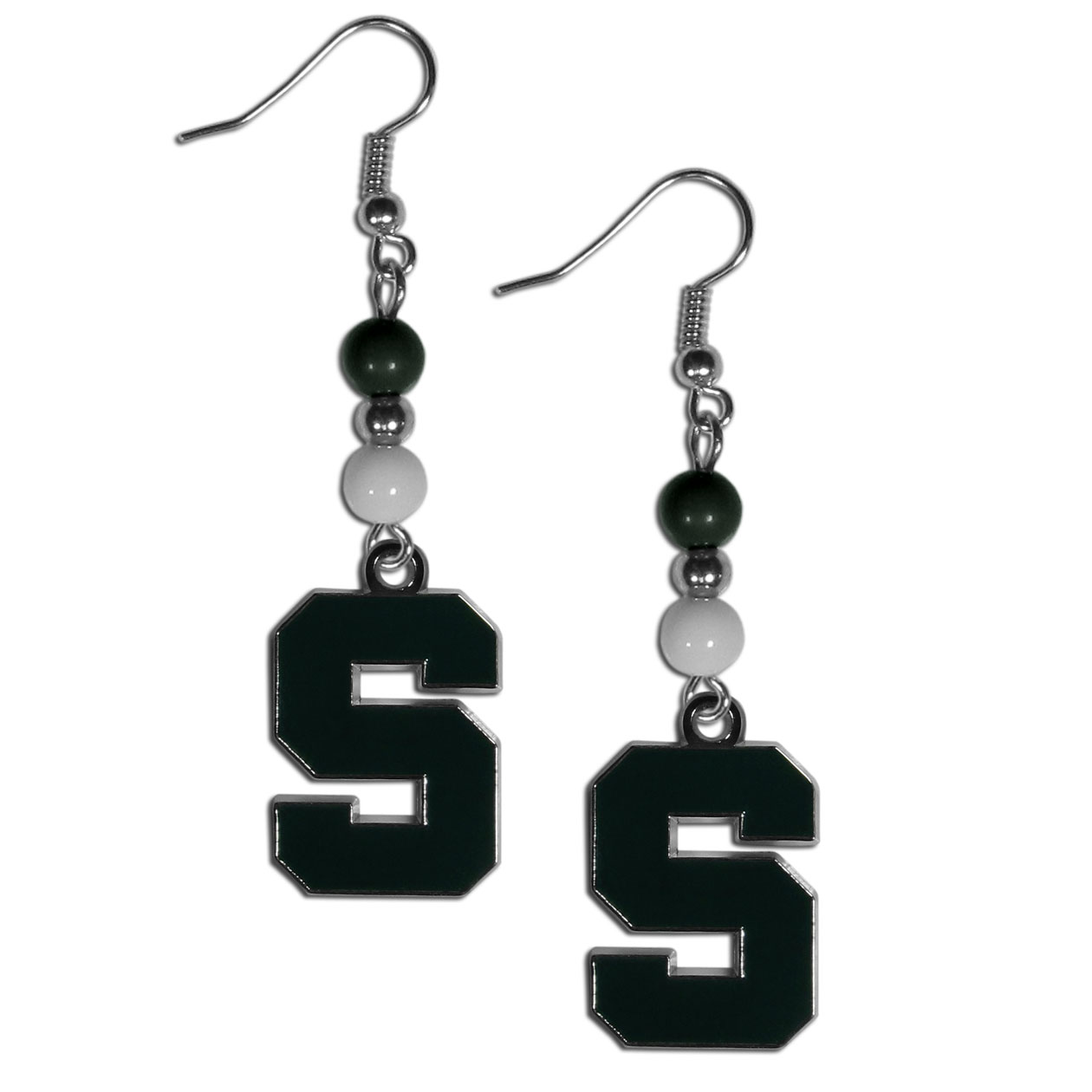 Michigan St. Spartans Fan Bead Dangle Earrings - Love your team, show it off with our Michigan St. Spartans bead dangle earrings! These super cute earrings hang approximately 2 inches and features 2 team colored beads and a high polish team charm. A must have for game day!