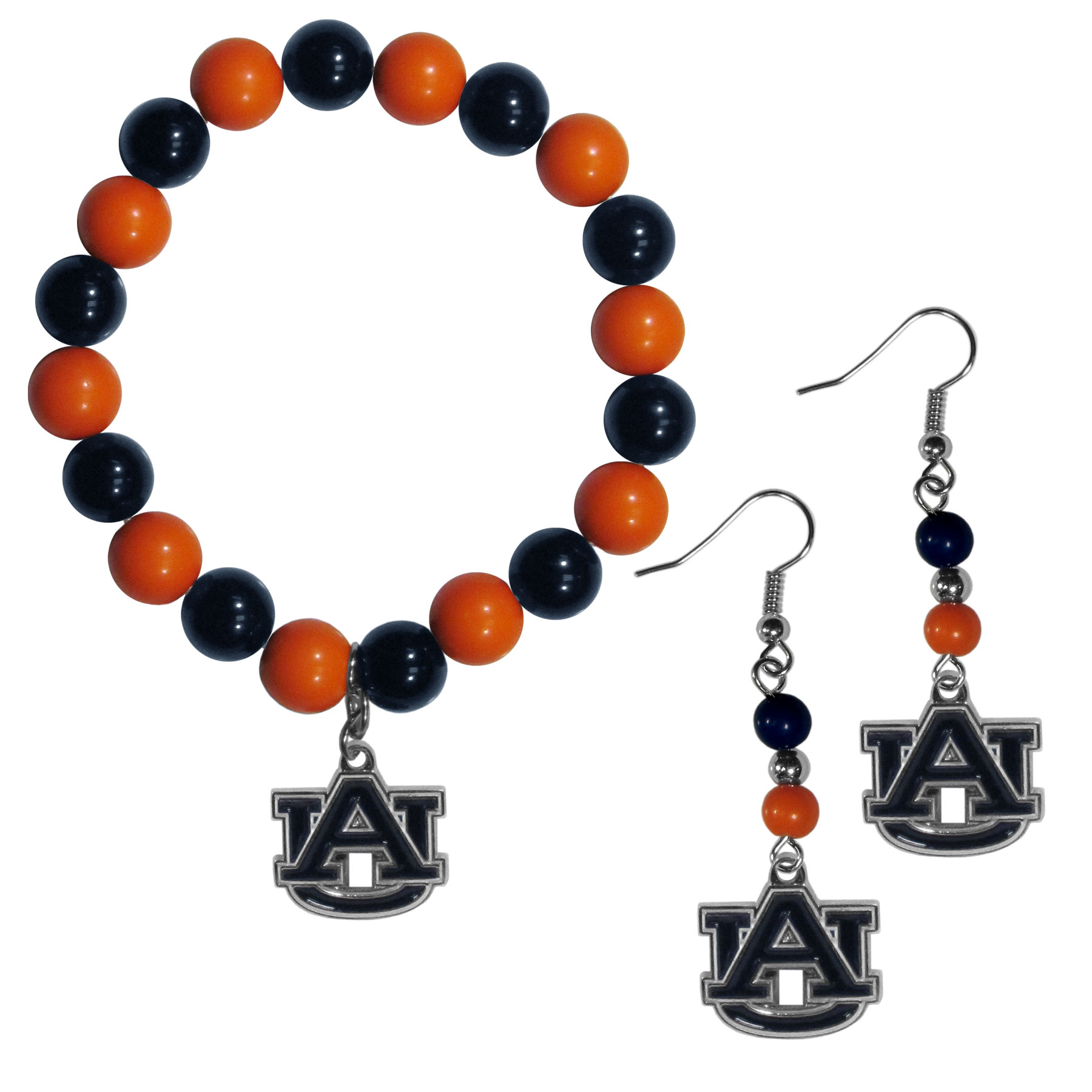 Auburn Tigers Fan Bead Earrings and Bracelet Set - This fun and colorful Auburn Tigers fan bead jewelry set is fun and casual with eye-catching beads in bright team colors. The fashionable dangle earrings feature a team colored beads that drop down to a carved and enameled charm. The stretch bracelet has larger matching beads that make a striking statement and have a matching team charm. These sassy yet sporty jewelry pieces make a perfect gift for any female fan. Spice up your game-day outfit with these fun colorful earrings and bracelet that are also cute enough for any day.