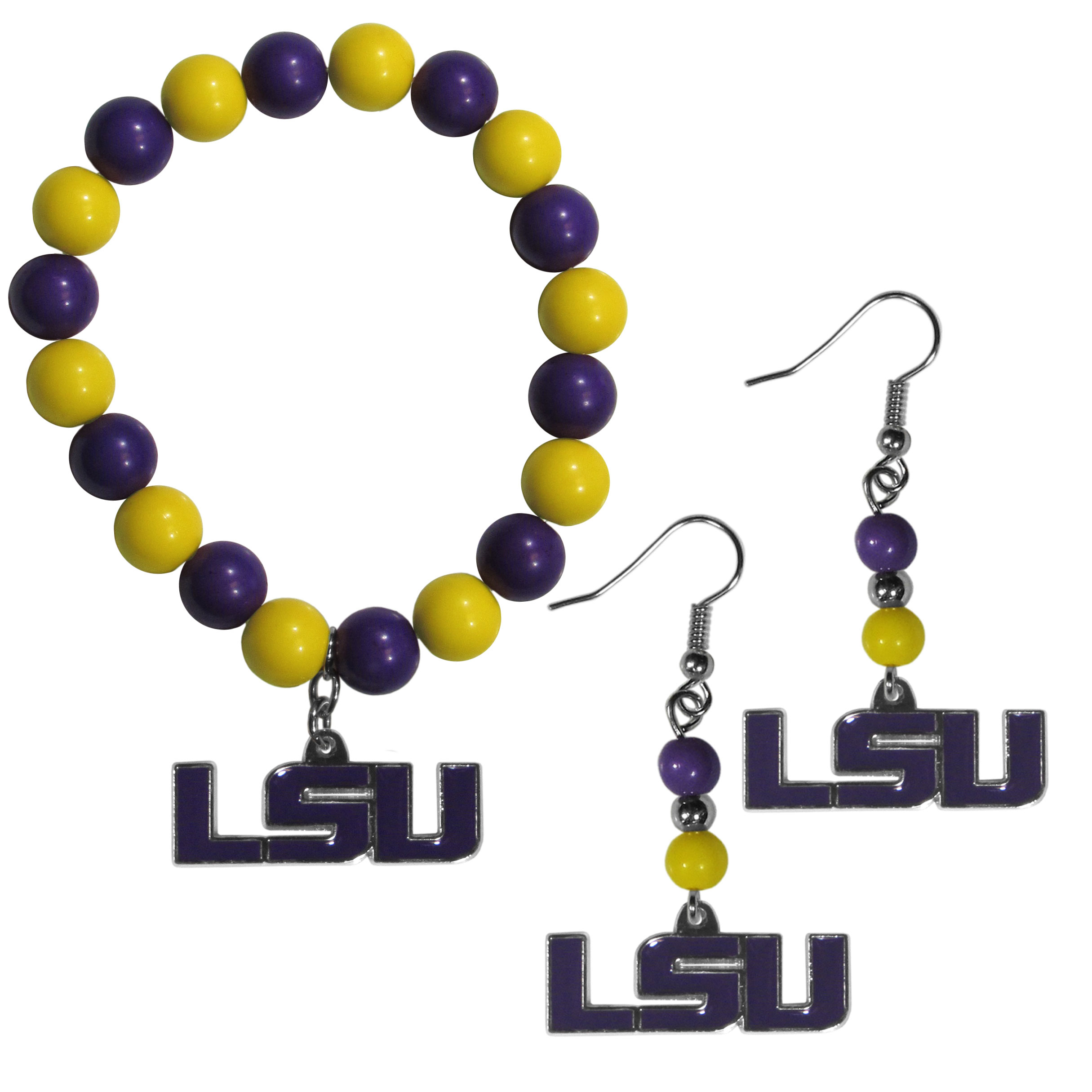 LSU Tigers Fan Bead Earrings and Bracelet Set - This fun and colorful LSU Tigers fan bead jewelry set is fun and casual with eye-catching beads in bright team colors. The fashionable dangle earrings feature a team colored beads that drop down to a carved and enameled charm. The stretch bracelet has larger matching beads that make a striking statement and have a matching team charm. These sassy yet sporty jewelry pieces make a perfect gift for any female fan. Spice up your game-day outfit with these fun colorful earrings and bracelet that are also cute enough for any day.