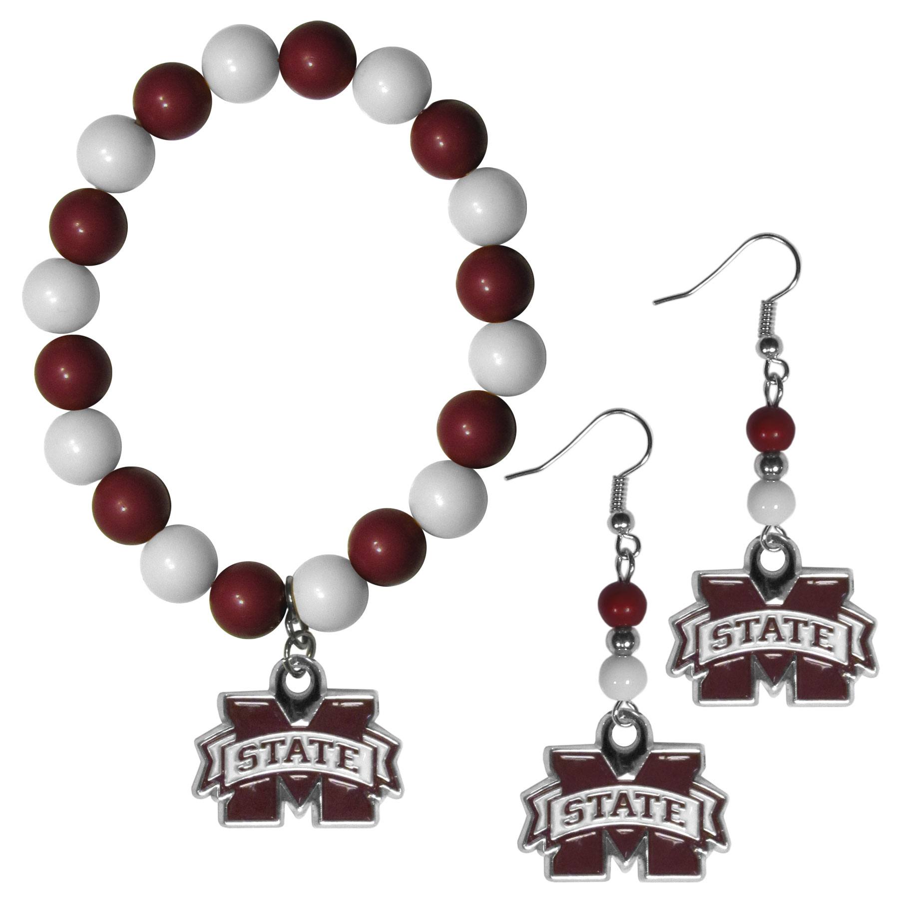 Mississippi St. Bulldogs Fan Bead Earrings and Bracelet Set - This fun and colorful Mississippi St. Bulldogs fan bead jewelry set is fun and casual with eye-catching beads in bright team colors. The fashionable dangle earrings feature a team colored beads that drop down to a carved and enameled charm. The stretch bracelet has larger matching beads that make a striking statement and have a matching team charm. These sassy yet sporty jewelry pieces make a perfect gift for any female fan. Spice up your game-day outfit with these fun colorful earrings and bracelet that are also cute enough for any day.