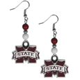 Mississippi St. Bulldogs  Fan Bead Dangle Earrings - Love your team, show it off with our Mississippi St. Bulldogs bead dangle earrings! These super cute earrings hang approximately 2 inches and features 2 team colored beads and a high polish team charm. A must have for game day!