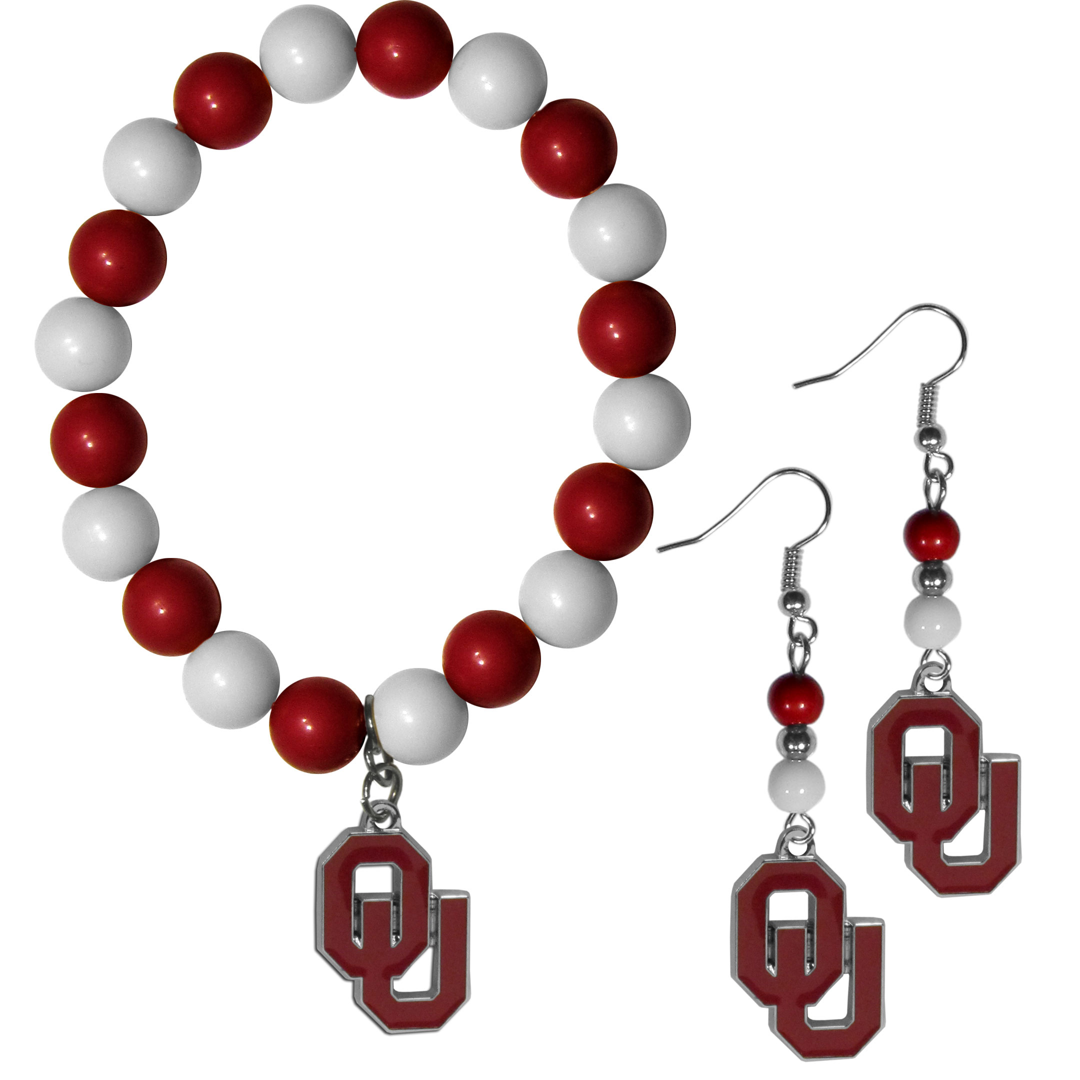 Oklahoma Sooners Fan Bead Earrings and Bracelet Set - This fun and colorful Oklahoma Sooners fan bead jewelry set is fun and casual with eye-catching beads in bright team colors. The fashionable dangle earrings feature a team colored beads that drop down to a carved and enameled charm. The stretch bracelet has larger matching beads that make a striking statement and have a matching team charm. These sassy yet sporty jewelry pieces make a perfect gift for any female fan. Spice up your game-day outfit with these fun colorful earrings and bracelet that are also cute enough for any day.