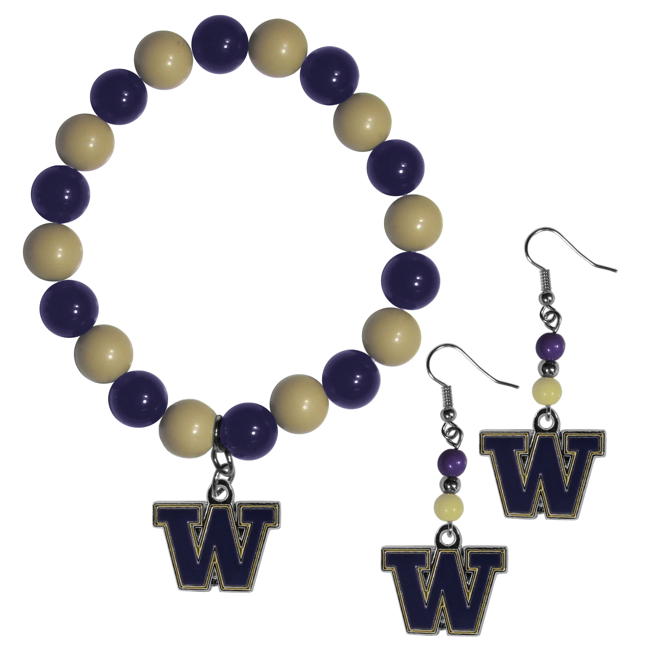 Washington Huskies Fan Bead Earrings and Bracelet Set - This fun and colorful Washington Huskies fan bead jewelry set is fun and casual with eye-catching beads in bright team colors. The fashionable dangle earrings feature a team colored beads that drop down to a carved and enameled charm. The stretch bracelet has larger matching beads that make a striking statement and have a matching team charm. These sassy yet sporty jewelry pieces make a perfect gift for any female fan. Spice up your game-day outfit with these fun colorful earrings and bracelet that are also cute enough for any day.