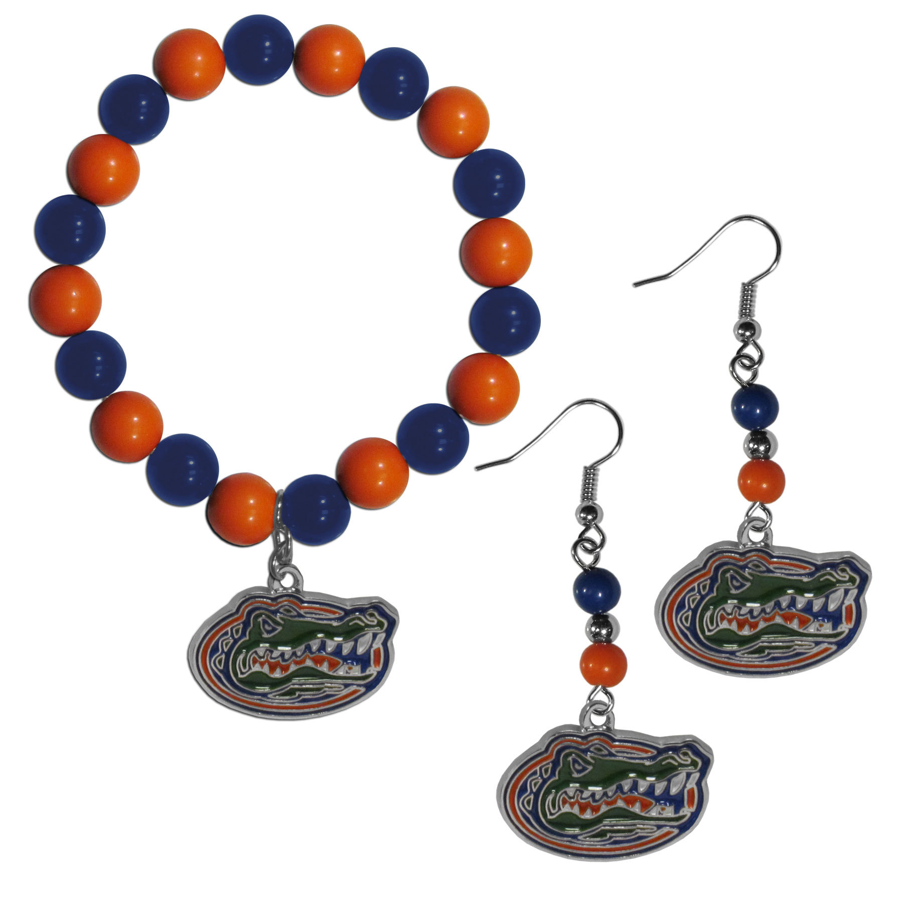 Florida Gators Fan Bead Earrings and Bracelet Set - This fun and colorful Florida Gators fan bead jewelry set is fun and casual with eye-catching beads in bright team colors. The fashionable dangle earrings feature a team colored beads that drop down to a carved and enameled charm. The stretch bracelet has larger matching beads that make a striking statement and have a matching team charm. These sassy yet sporty jewelry pieces make a perfect gift for any female fan. Spice up your game-day outfit with these fun colorful earrings and bracelet that are also cute enough for any day.