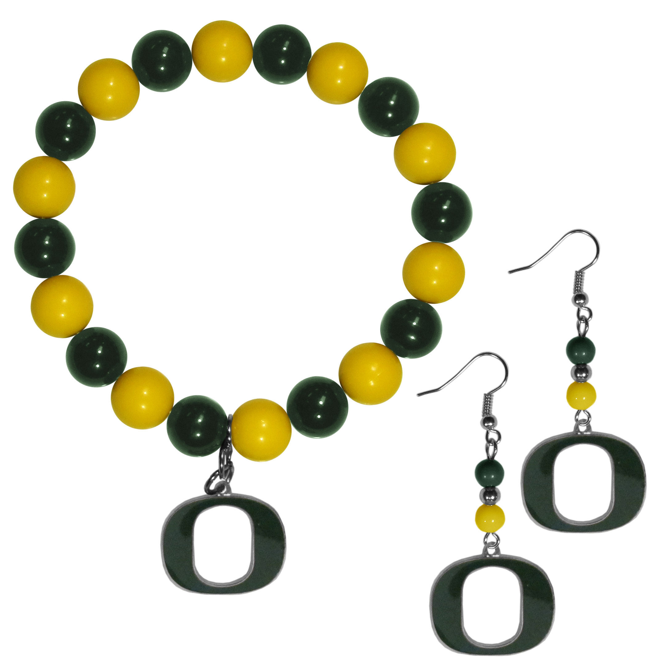 Oregon Ducks Fan Bead Earrings and Bracelet Set - This fun and colorful Oregon Ducks fan bead jewelry set is fun and casual with eye-catching beads in bright team colors. The fashionable dangle earrings feature a team colored beads that drop down to a carved and enameled charm. The stretch bracelet has larger matching beads that make a striking statement and have a matching team charm. These sassy yet sporty jewelry pieces make a perfect gift for any female fan. Spice up your game-day outfit with these fun colorful earrings and bracelet that are also cute enough for any day.