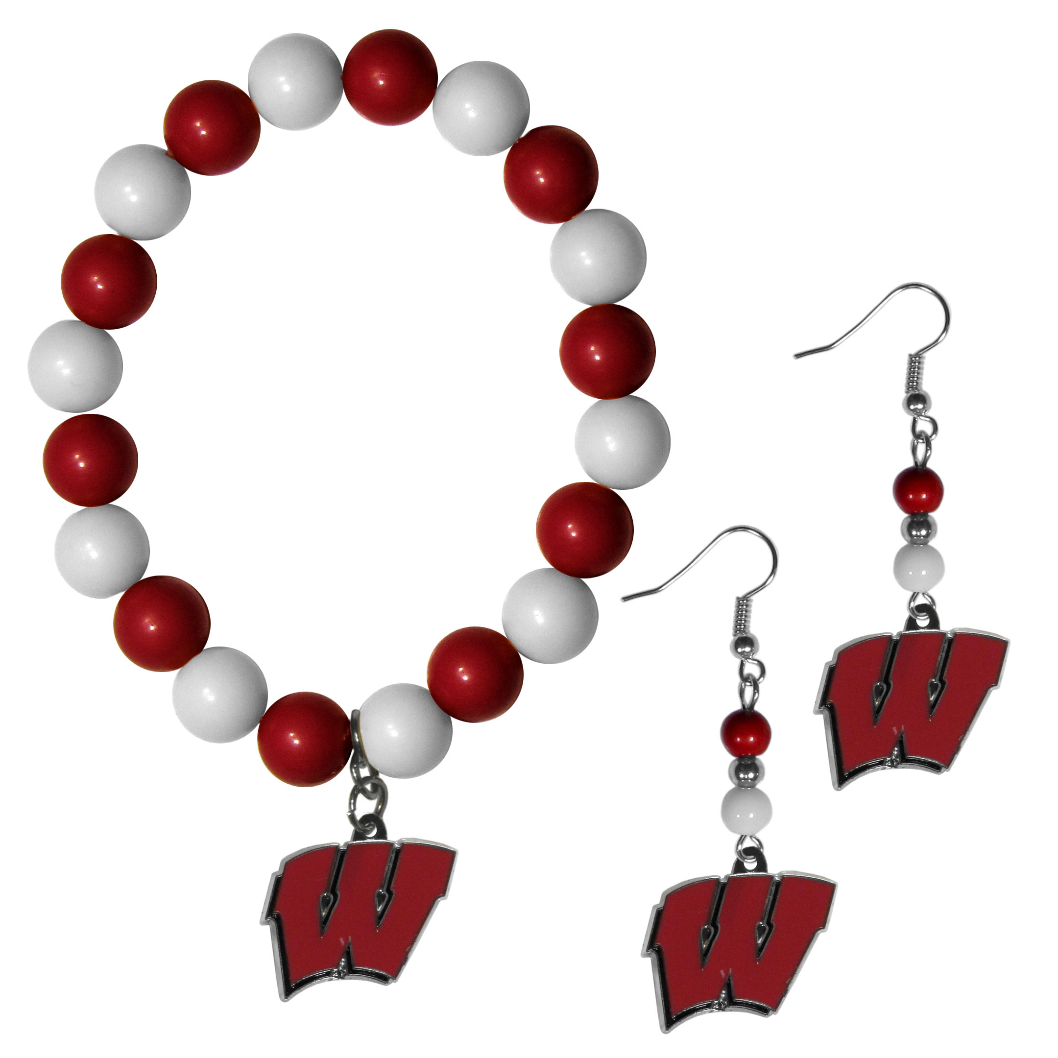 Wisconsin Badgers Fan Bead Earrings and Bracelet Set - This fun and colorful Wisconsin Badgers fan bead jewelry set is fun and casual with eye-catching beads in bright team colors. The fashionable dangle earrings feature a team colored beads that drop down to a carved and enameled charm. The stretch bracelet has larger matching beads that make a striking statement and have a matching team charm. These sassy yet sporty jewelry pieces make a perfect gift for any female fan. Spice up your game-day outfit with these fun colorful earrings and bracelet that are also cute enough for any day.
