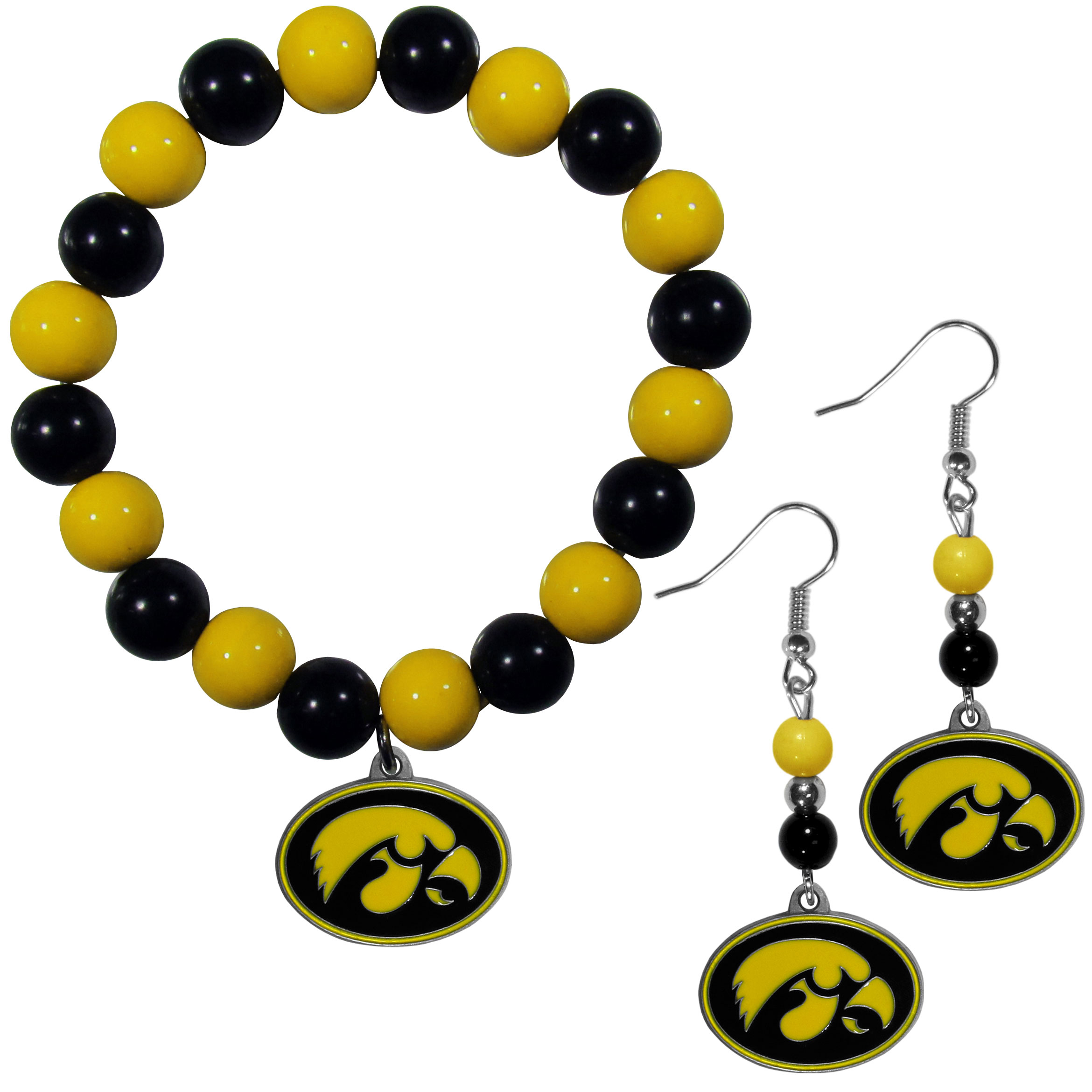 Iowa Hawkeyes Fan Bead Earrings and Bracelet Set - This fun and colorful Iowa Hawkeyes fan bead jewelry set is fun and casual with eye-catching beads in bright team colors. The fashionable dangle earrings feature a team colored beads that drop down to a carved and enameled charm. The stretch bracelet has larger matching beads that make a striking statement and have a matching team charm. These sassy yet sporty jewelry pieces make a perfect gift for any female fan. Spice up your game-day outfit with these fun colorful earrings and bracelet that are also cute enough for any day.
