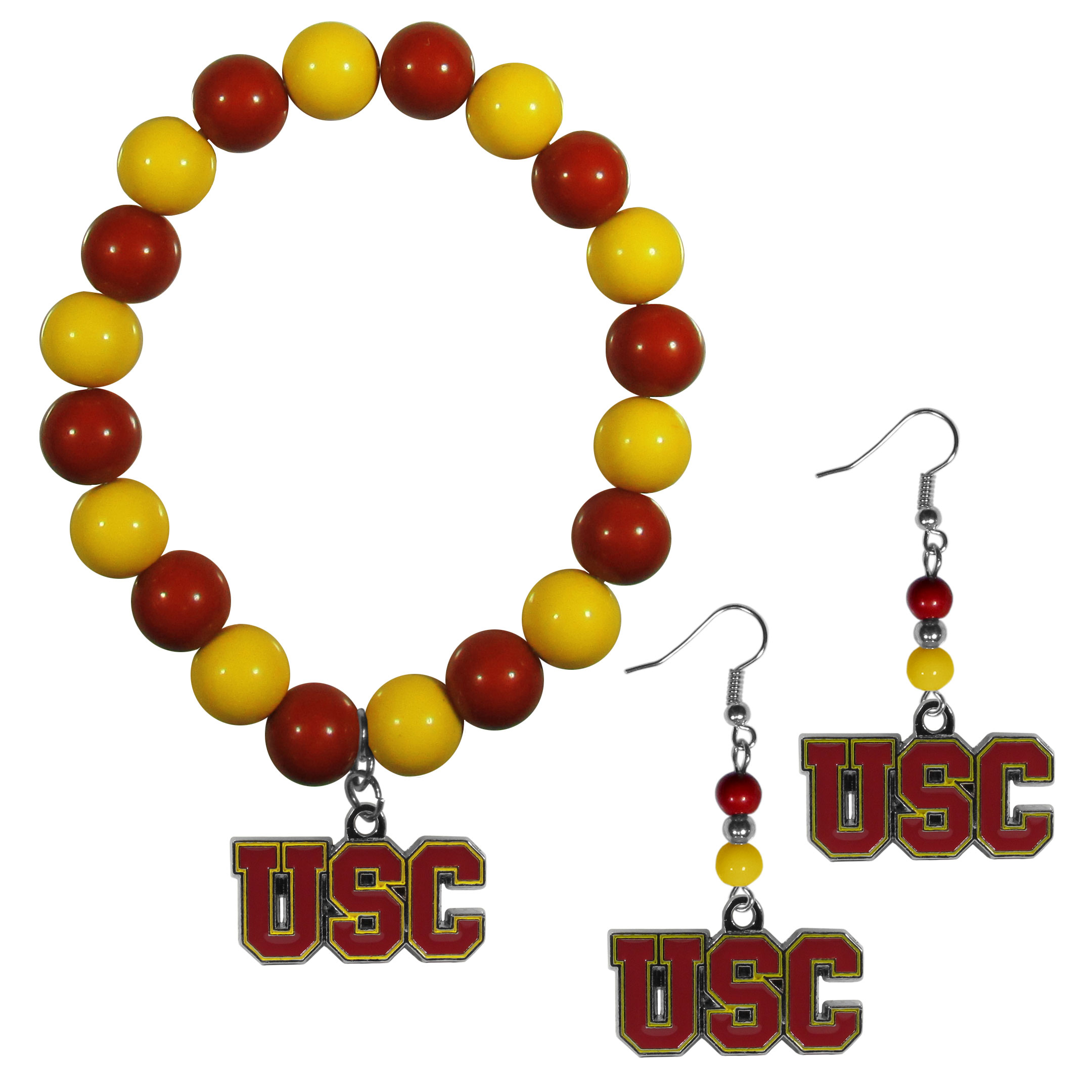 USC Trojans Fan Bead Earrings and Bracelet Set - This fun and colorful USC Trojans fan bead jewelry set is fun and casual with eye-catching beads in bright team colors. The fashionable dangle earrings feature a team colored beads that drop down to a carved and enameled charm. The stretch bracelet has larger matching beads that make a striking statement and have a matching team charm. These sassy yet sporty jewelry pieces make a perfect gift for any female fan. Spice up your game-day outfit with these fun colorful earrings and bracelet that are also cute enough for any day.
