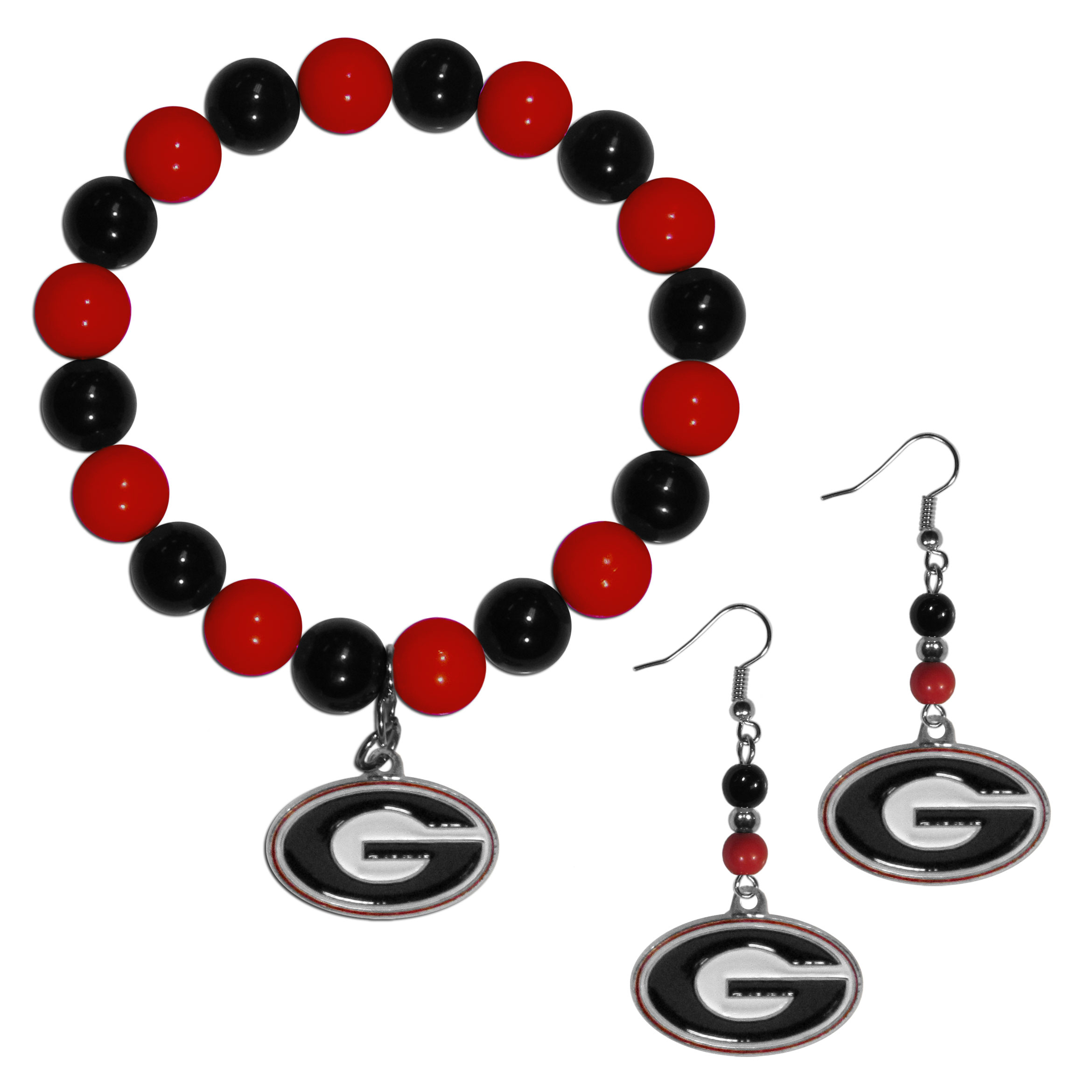 Georgia Bulldogs Fan Bead Earrings and Bracelet Set - This fun and colorful Georgia Bulldogs fan bead jewelry set is fun and casual with eye-catching beads in bright team colors. The fashionable dangle earrings feature a team colored beads that drop down to a carved and enameled charm. The stretch bracelet has larger matching beads that make a striking statement and have a matching team charm. These sassy yet sporty jewelry pieces make a perfect gift for any female fan. Spice up your game-day outfit with these fun colorful earrings and bracelet that are also cute enough for any day.