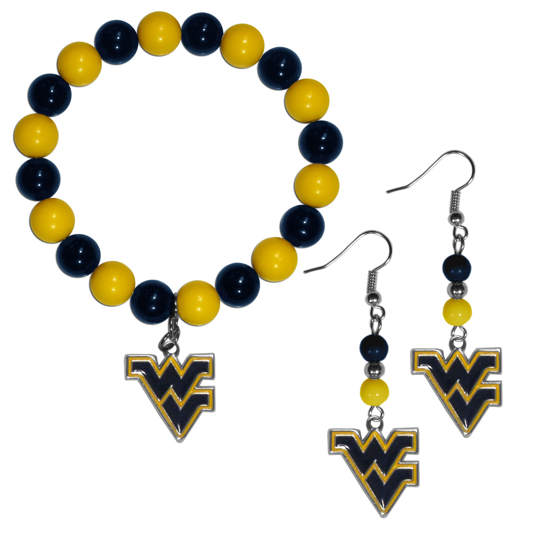 W. Virginia Mountaineers Fan Bead Earrings and Bracelet Set - This fun and colorful W. Virginia Mountaineers fan bead jewelry set is fun and casual with eye-catching beads in bright team colors. The fashionable dangle earrings feature a team colored beads that drop down to a carved and enameled charm. The stretch bracelet has larger matching beads that make a striking statement and have a matching team charm. These sassy yet sporty jewelry pieces make a perfect gift for any female fan. Spice up your game-day outfit with these fun colorful earrings and bracelet that are also cute enough for any day.