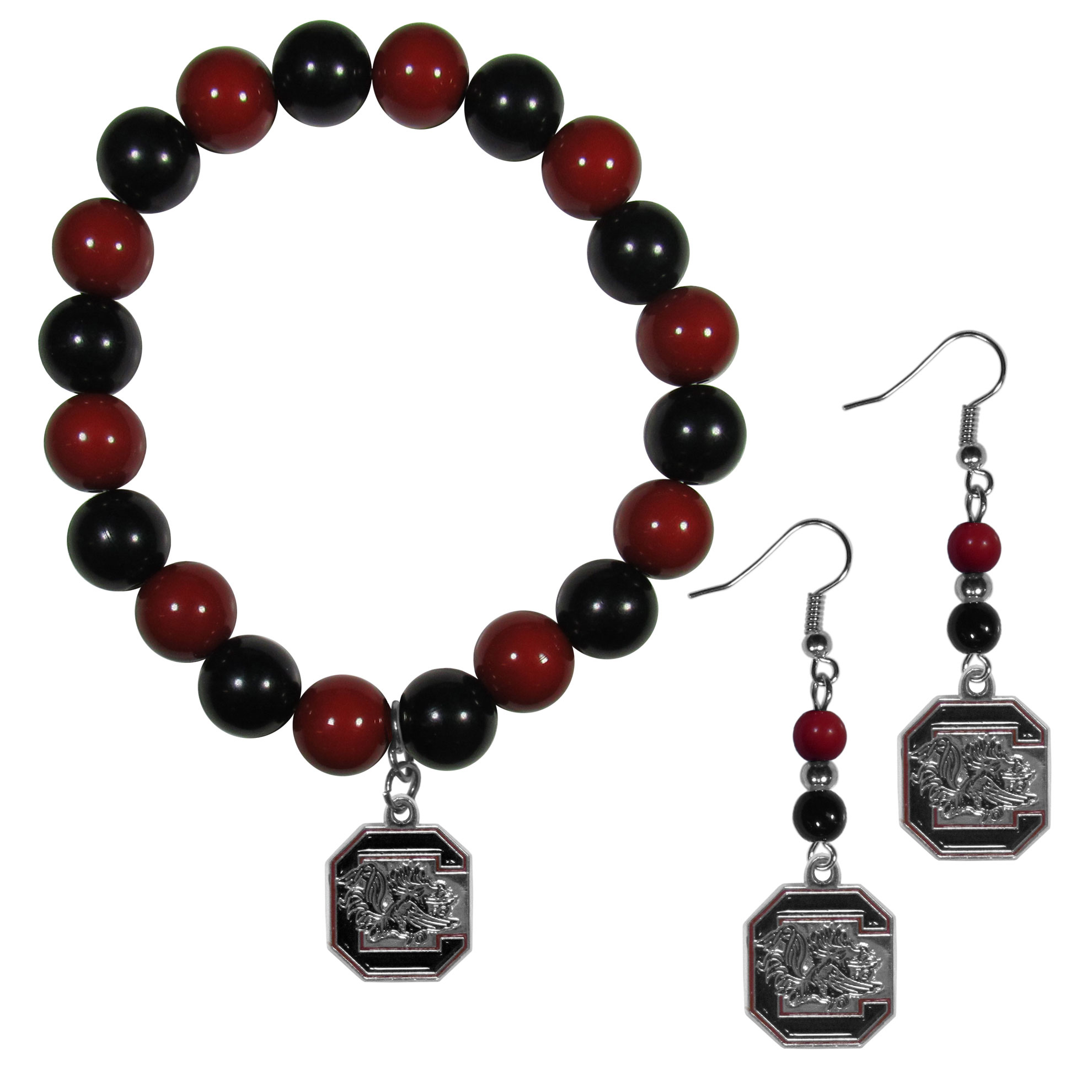 S. Carolina Gamecocks Fan Bead Earrings and Bracelet Set - This fun and colorful S. Carolina Gamecocks fan bead jewelry set is fun and casual with eye-catching beads in bright team colors. The fashionable dangle earrings feature a team colored beads that drop down to a carved and enameled charm. The stretch bracelet has larger matching beads that make a striking statement and have a matching team charm. These sassy yet sporty jewelry pieces make a perfect gift for any female fan. Spice up your game-day outfit with these fun colorful earrings and bracelet that are also cute enough for any day.