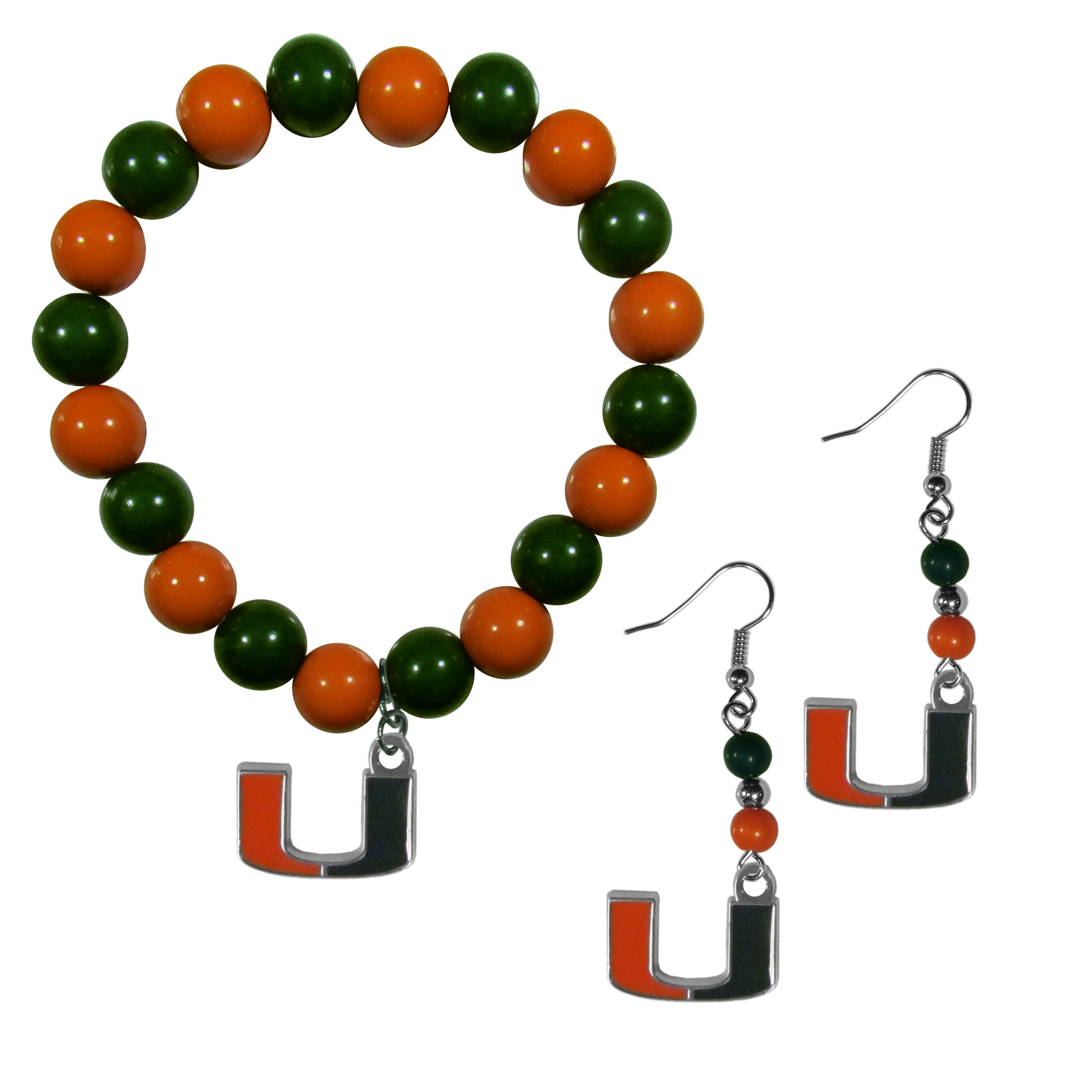 Miami Hurricanes Fan Bead Earrings and Bracelet Set - This fun and colorful Miami Hurricanes fan bead jewelry set is fun and casual with eye-catching beads in bright team colors. The fashionable dangle earrings feature a team colored beads that drop down to a carved and enameled charm. The stretch bracelet has larger matching beads that make a striking statement and have a matching team charm. These sassy yet sporty jewelry pieces make a perfect gift for any female fan. Spice up your game-day outfit with these fun colorful earrings and bracelet that are also cute enough for any day.