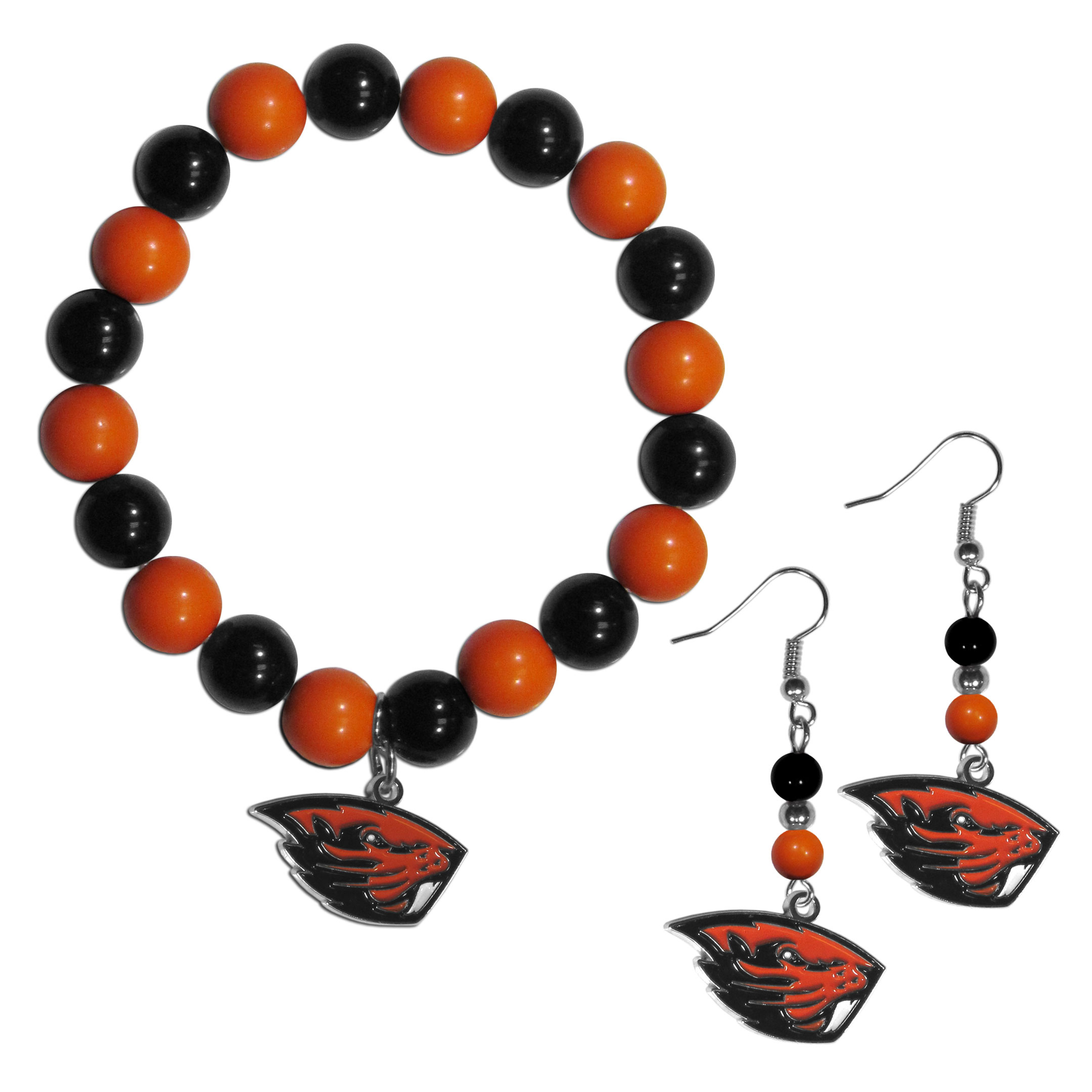 Oregon St. Beavers Fan Bead Earrings and Bracelet Set - This fun and colorful Oregon St. Beavers fan bead jewelry set is fun and casual with eye-catching beads in bright team colors. The fashionable dangle earrings feature a team colored beads that drop down to a carved and enameled charm. The stretch bracelet has larger matching beads that make a striking statement and have a matching team charm. These sassy yet sporty jewelry pieces make a perfect gift for any female fan. Spice up your game-day outfit with these fun colorful earrings and bracelet that are also cute enough for any day.