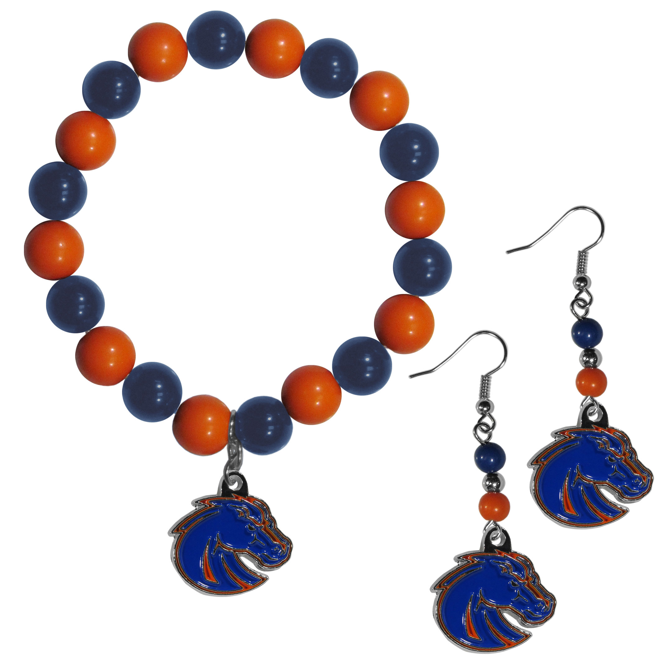 Boise St. Broncos Fan Bead Earrings and Bracelet Set - This fun and colorful Boise St. Broncos fan bead jewelry set is fun and casual with eye-catching beads in bright team colors. The fashionable dangle earrings feature a team colored beads that drop down to a carved and enameled charm. The stretch bracelet has larger matching beads that make a striking statement and have a matching team charm. These sassy yet sporty jewelry pieces make a perfect gift for any female fan. Spice up your game-day outfit with these fun colorful earrings and bracelet that are also cute enough for any day.