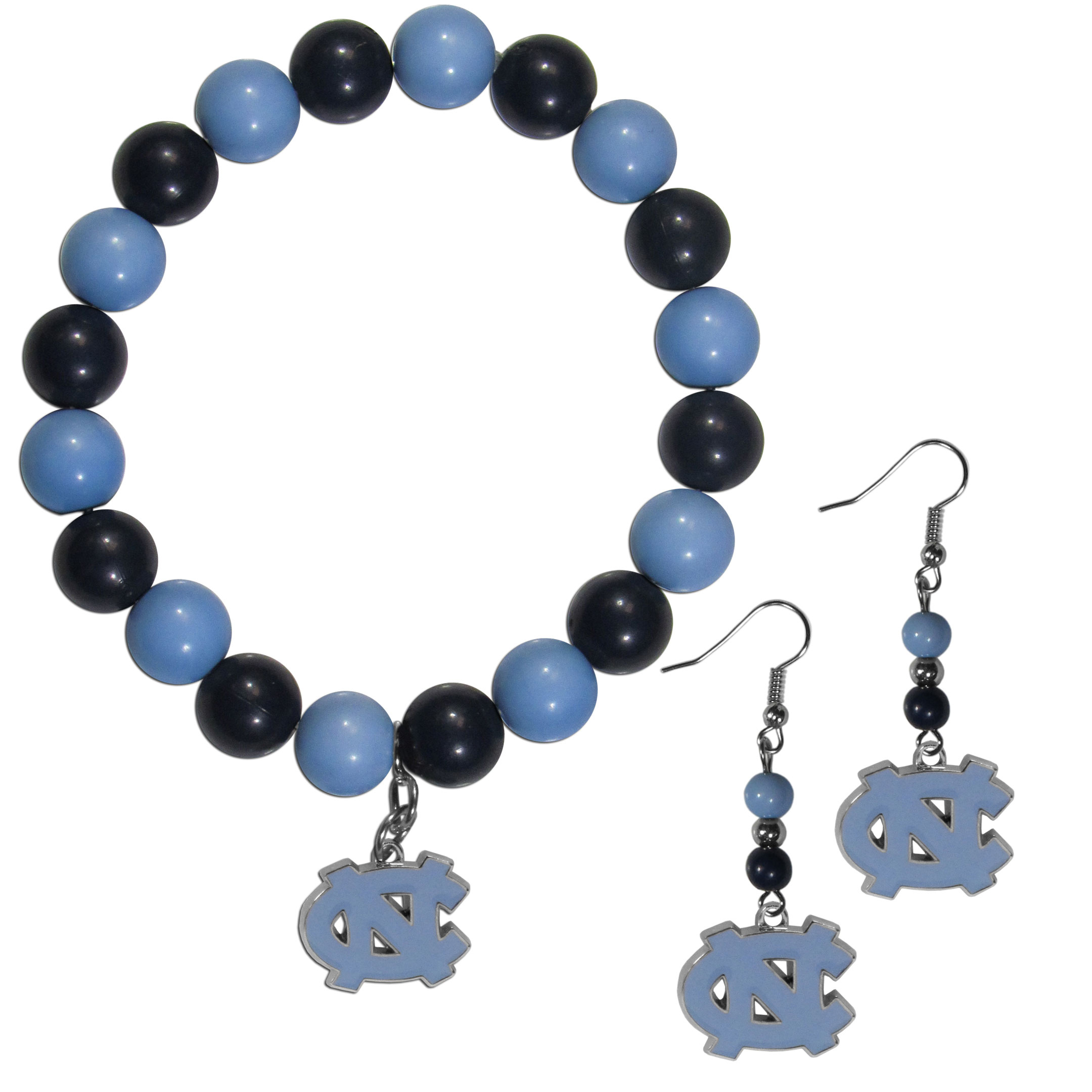 N. Carolina Tar Heels Fan Bead Earrings and Bracelet Set - This fun and colorful N. Carolina Tar Heels fan bead jewelry set is fun and casual with eye-catching beads in bright team colors. The fashionable dangle earrings feature a team colored beads that drop down to a carved and enameled charm. The stretch bracelet has larger matching beads that make a striking statement and have a matching team charm. These sassy yet sporty jewelry pieces make a perfect gift for any female fan. Spice up your game-day outfit with these fun colorful earrings and bracelet that are also cute enough for any day.