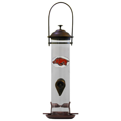 "Arkansas Razorbacks Bird Feeder - Our collegiate bird feeder is 18"" tall and has a 5"" diameter catcher tray and holds 24 ounces of feed. Easy to clean and fill. The feeder features a fully cast and enameled Arkansas Razorbacks emblem. Thank you for shopping with CrazedOutSports.com"