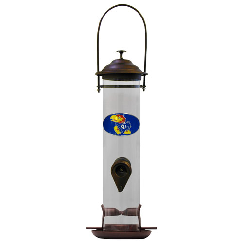 "Kansas Jayhawks Bird Feeder - This Kansas Jayhawks collegiate bird feeder is 18"" tall and has a 5"" diameter catcher tray and holds 24 ounces of feed. Easy to clean and fill. The feeder features a fully cast and enameled Kansas Jayhawks emblem. Thank you for shopping with CrazedOutSports.com"