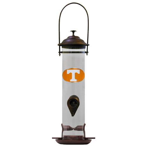"Tennessee Bird Feeder - Our collegiate bird feeder is 18"" tall and has a 5"" diameter catcher tray and holds 24 ounces of feed. Easy to clean and fill. The feeder features a fully cast and enameled Tennessee Volunteers emblem. Thank you for shopping with CrazedOutSports.com"