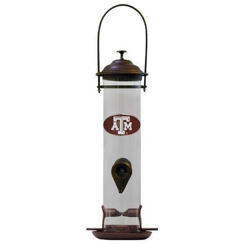 "Texas A and M Bird Feeder - Our collegiate bird feeder is 18"" tall and has a 5"" diameter catcher tray and holds 24 ounces of feed. Easy to clean and fill. The feeder features a fully cast and enameled Texas A & M Aggies emblem. Thank you for shopping with CrazedOutSports.com"