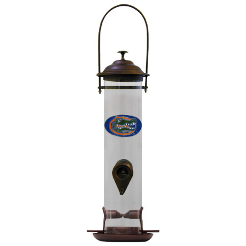 "Florida Gators Bird Feeder - Our collegiate bird feeder is 18"" tall and has a 5"" diameter catcher tray and holds 24 ounces of feed. Easy to clean and fill. The feeder features a fully cast and enameled Florida Gators emblem. Thank you for shopping with CrazedOutSports.com"