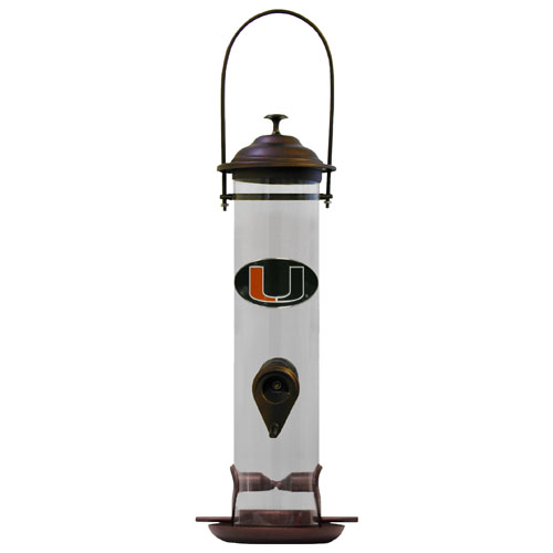"Miami Hurricanes Bird Feeder - Miami Hurricanes Bird Feeder is 18"" tall and has a 5"" diameter catcher tray and holds 24 ounces of feed. Easy to clean and fill. The feeder features a fully cast and enameled Miami Hurricanes emblem. Thank you for shopping with CrazedOutSports.com"