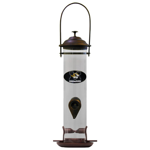 "Missouri Bird Feeder - Our collegiate bird feeder is 18"" tall and has a 5"" diameter catcher tray and holds 24 ounces of feed. Easy to clean and fill. The feeder features a fully cast and enameled Missouri Tigers emblem. Thank you for shopping with CrazedOutSports.com"