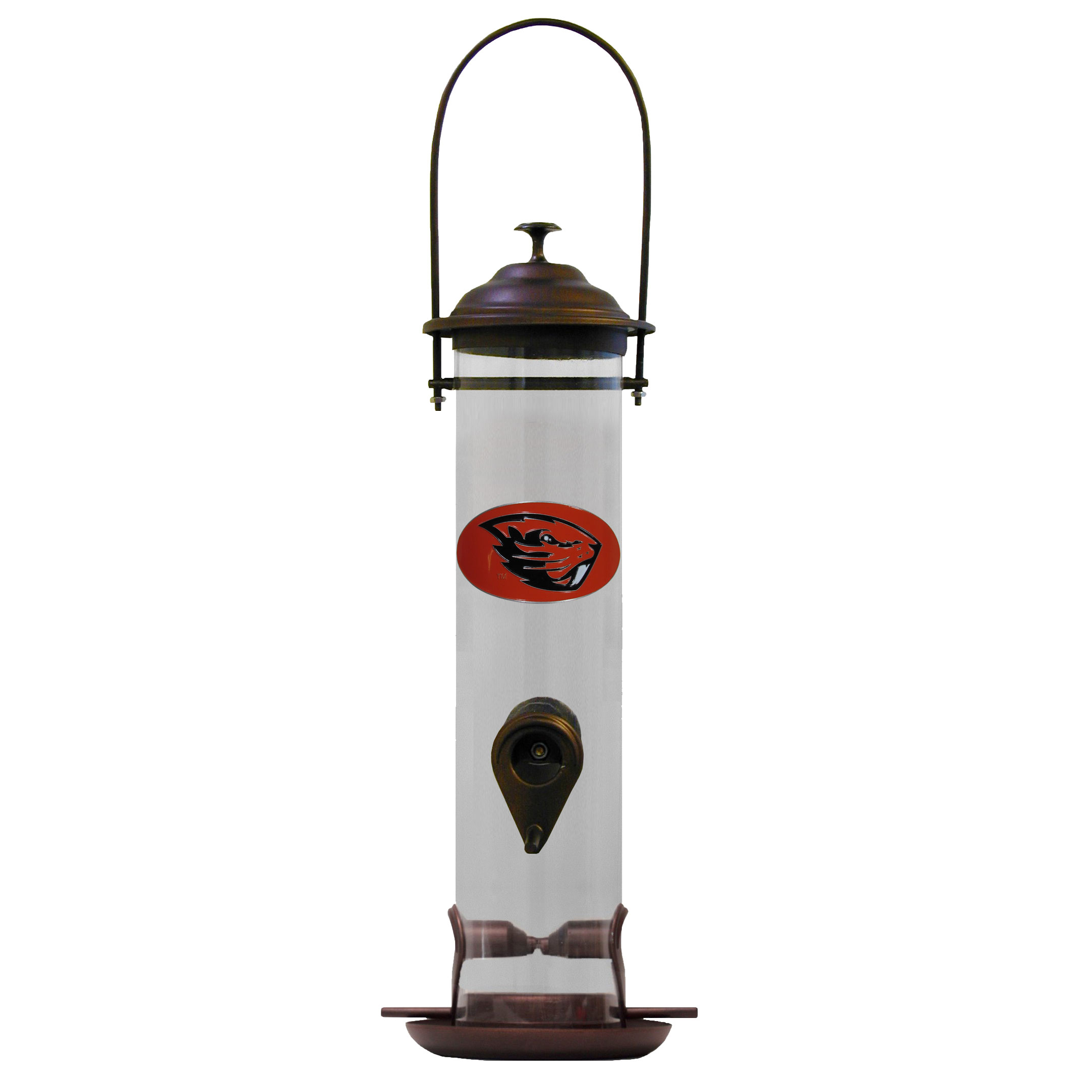 Oregon St. Beavers Thistle Bird Feeder - Our thistle bird feeder is 18 inches tall and has a 5 inch diameter catcher tray and holds 24 ounces of feed. Easy to clean and fill. The feeder features a fully cast and enameled Oregon St. Beavers emblem
