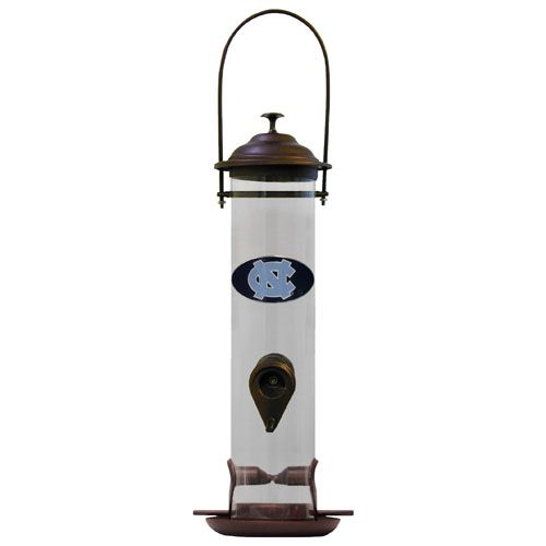 "N. Carolina Bird Feeder - Our collegiate bird feeder is 18"" tall and has a 5"" diameter catcher tray and holds 24 ounces of feed. Easy to clean and fill. The feeder features a fully cast and enameled N. Carolina Tar Heels emblem. Thank you for shopping with CrazedOutSports.com"