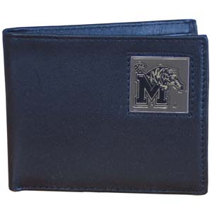 Memphis Tigers Leather Bi-fold - The Memphis Tigers college Bi-fold wallet is made of high quality fine grain leather and includes credit card slots and photo sleeves. School logo is sculpted and enameled with fine detail on the front panel. Thank you for shopping with CrazedOutSports.com