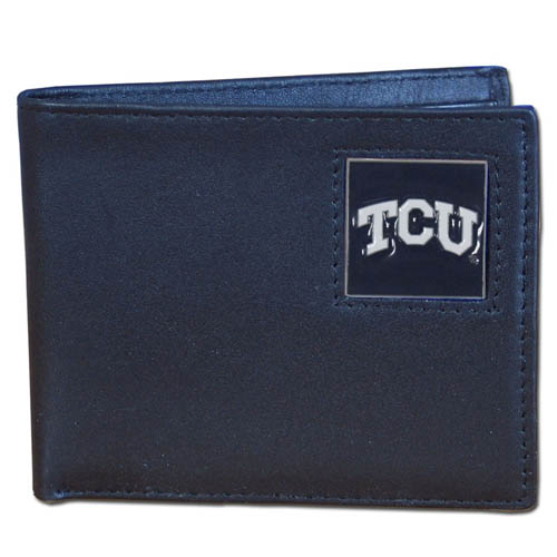 TCU Leather Bifold Wallet - Our  college Bi-fold wallet is made of high quality fine grain leather and includes credit card slots and photo sleeves. School logo is sculpted and enameled with fine detail on the front panel.  Thank you for shopping with CrazedOutSports.com