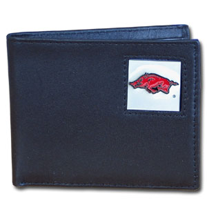 College Bi-fold Wallet -  Arkansas Razorbacks - Our Arkansas Razorbacks college Bi-fold wallet is made of high quality fine grain leather and includes credit card slots and photo sleeves. Arkansas Razorbacks school logo is sculpted and enameled with fine detail on the front panel.  Thank you for shopping with CrazedOutSports.com