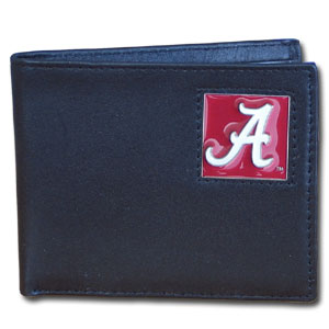 College Bi-fold Wallet - Alabama Crimson Tide - Our Alabama Crimson Tide college Bi-fold wallet is made of high quality fine grain leather and includes credit card slots and photo sleeves. School logo is sculpted and enameled with fine detail on the front panel.  Thank you for shopping with CrazedOutSports.com