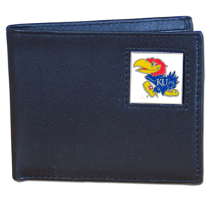 College Bi-fold Wallet - Kansas Jayhawks - This Kansas Jayhawks college Bi-fold wallet is made of high quality fine grain leather and includes credit card slots and photo sleeves. School logo is sculpted and enameled with fine detail on the front panel.  Thank you for shopping with CrazedOutSports.com