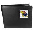 Kansas Jayhawks Leather Bi-fold Wallet Packaged in Gift Box