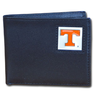 College Bi-fold Wallet Boxed - Tennessee Volunteers - Our  college Bi-fold wallet is made of high quality fine grain leather and includes credit card slots and photo sleeves. School logo is sculpted and enameled with fine detail on the front panel. Packaged in a window box. Thank you for shopping with CrazedOutSports.com
