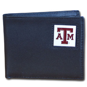 College Bi-fold Wallet Boxed - Texas AandM Aggies - Our  college Bi-fold wallet is made of high quality fine grain leather and includes credit card slots and photo sleeves. School logo is sculpted and enameled with fine detail on the front panel. Packaged in a window box. Thank you for shopping with CrazedOutSports.com