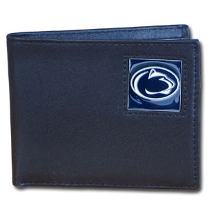 College Bi-fold Wallet Boxed - Penn State Nittany Lions - Our  college Bi-fold wallet is made of high quality fine grain leather and includes credit card slots and photo sleeves. School logo is sculpted and enameled with fine detail on the front panel. Packaged in a window box. Thank you for shopping with CrazedOutSports.com